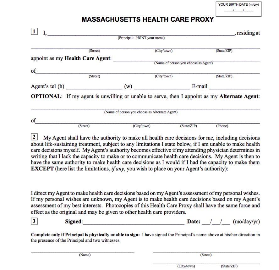 Nice Massachusetts Health Care Proxy Form 2017